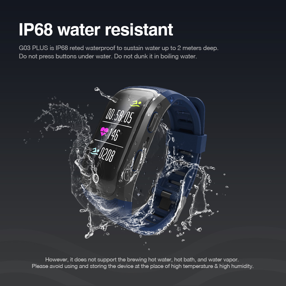 Makibes G03 Plus Color Screen Men watch Activity Fitness Tracker Wristband IP68 Waterproof GPS Heart Rate Monitor bracelet-in Smart Wristbands from Consumer Electronics    3