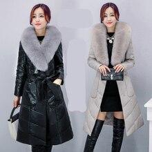 Women's Long down jacket 2016 Winter Fur Coat Adjustable Waist Thick Warm Long Coat Outwear Plus Size M_4XL High quality