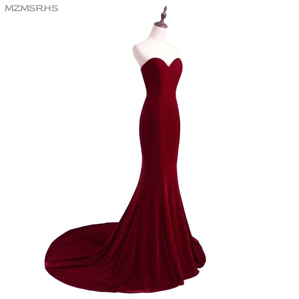 Unik Designer Burgundy Mermaid Prom Dresses 2015 Women Long Train - Särskilda tillfällen klänningar - Foto 3