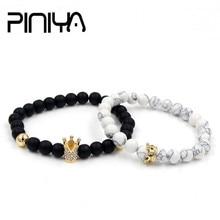 Fashion 2Pcs/Set Natural Pave CZ King Crown Charm Bangle Bracelet Lava Howlite Stone Beads Couple Stretch Mala Braclet Sets