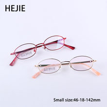HEJIE Brand New Women Pure Titanium Optical Eyeglasses Frames High Quality Full Rim Small Size For Female Size 54-18-138 Y0053(China)