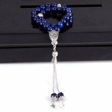 ขายส่งผู้ชายสร้อยข้อมือ 33 ลูกปัดหินธรรมชาติรอบ Lapis Lazuli Tiger Eye Beads Tasbih สำหรับผู้หญิงเครื่องประดับทำด้วยมือ