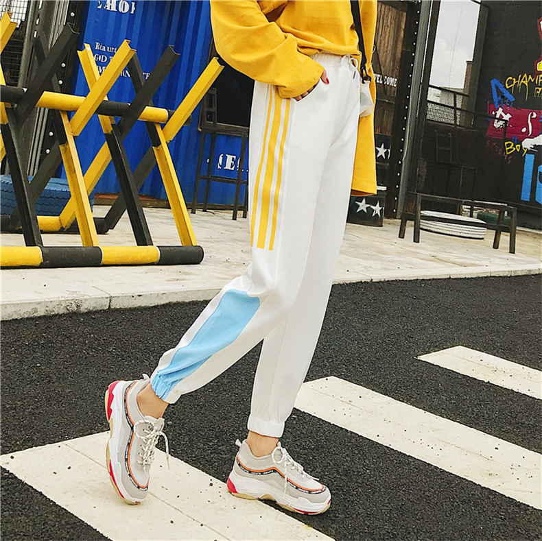 Cargo Pants Women Patchwork Long Pants High Waist Side Striped Black Trousers Student Elastic Waist Harajuku Plus Size Bottoms 52