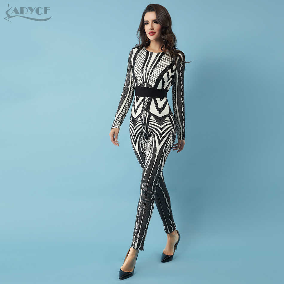 52a7bbe531f0 ... Adyce 2018 Hot Sale New Women Jumpsuit Sexy Long Sleeve Bodysuit  Sequins Patchwork Mesh Celebrity Party ...