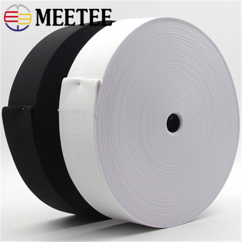 5yards From 15mm to 60mm Black or White Braided Elastic Ribbon Elastics Bands