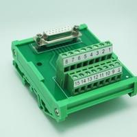 DB15 male / female D Sub 15 Pin Connectors Terminal Blocks Breakout Board DIN Rail