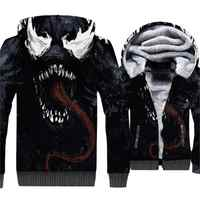 Autumn Winter Thick Hoodies For Men 3D Pattern Spider-Man VENOM Gothic Hoodie 2018 New Streetwear Men's Sweatshirts Hip Hop Tops