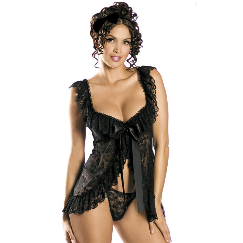 <font><b>Sexy</b></font> Lingerie Women G-string <font><b>Babydolls</b></font> Dress Nightgown Sleepwear Pajamass for Women Sleeveless Strap Nightwear Lace Top <font><b>Pijamas</b></font> image