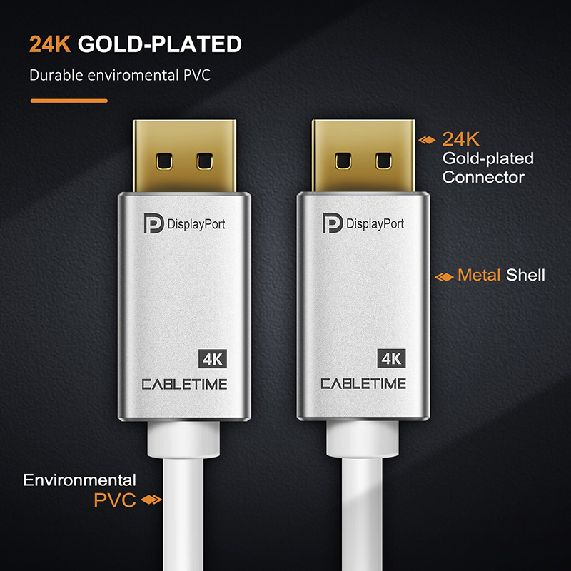 Cabletime DisplayPort Cable M/M PRE DP 4k 60hz DP 1.2 Cable 1m 1.8m 3m DP Gold-plated DP Cable for HDTV Projector PC Camera N163