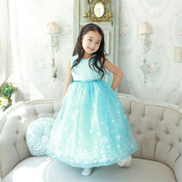 Kids Girls Princess Lace Dress Sleeveless Party Christmas Snowflake Pattern Wedding Bridesmaid Solid Snow Queen Lace Dress Girl