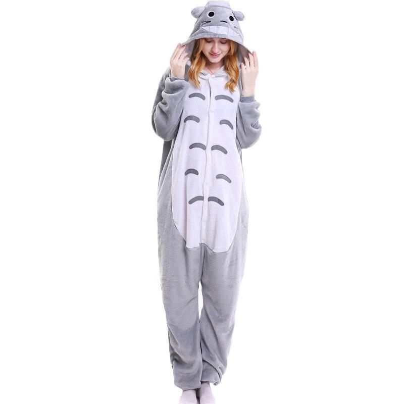 Women Totoro Animal Pajamas One Piece Sleep Onesie Adult Winter Hooded Homewear Sleepwear Female Cute Totoro Cartoon Pyjama