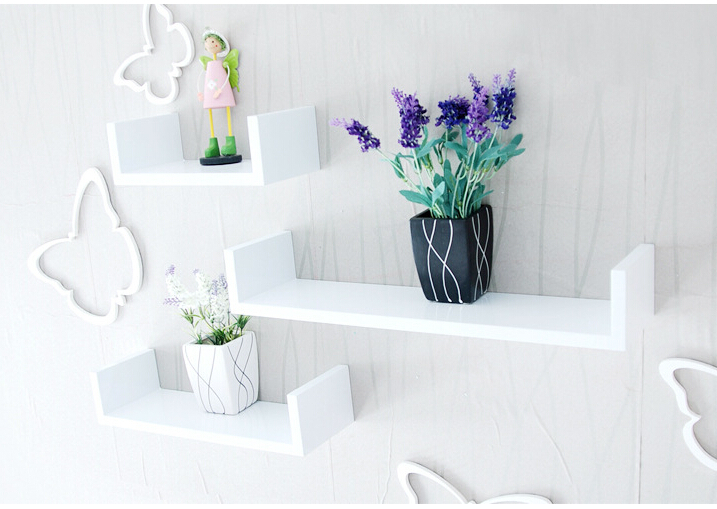 comprar unidslote u en forma de pared estante estantes de pared de pantallas de madera moderna azul rojo negro blanco rosa flotante