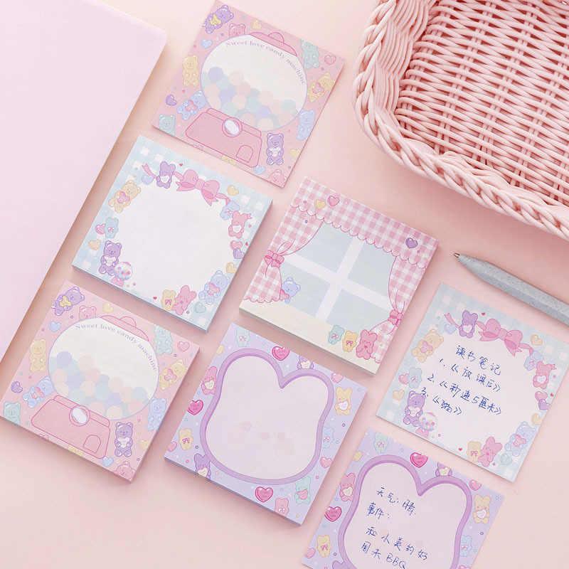 Мультфильм животных блокнот милые конфеты цвет самоклеющиеся N раз клейкая бумага для заметок, Канцтовары стикер школьные принадлежности наклейка-закладка