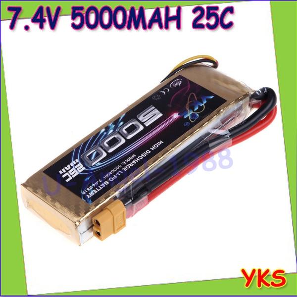 1pcs Original YKS Lipo Battery 7 4V 5000mah 25C MAX 40C XT60 Plug for RC Car