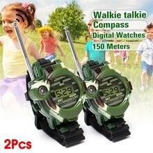 2pcs 7 in 1 Children Walkie Talkie Watch Camouflage Style Ch