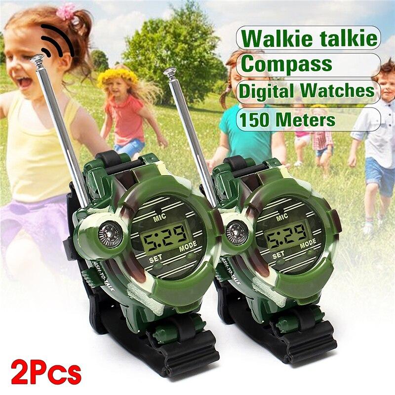2pcs 7 In 1 Children Walkie Talkie Watch Camouflage Style Children Toy Kids Watches Outdoor Game Interphone Back-in-school Gift