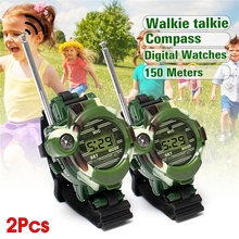 2pcs 7 in 1 Children Walkie Talkie Watch Camouflage Style Children Toy Kids Watches Outdoor Game Interphone Back-in-school Gift