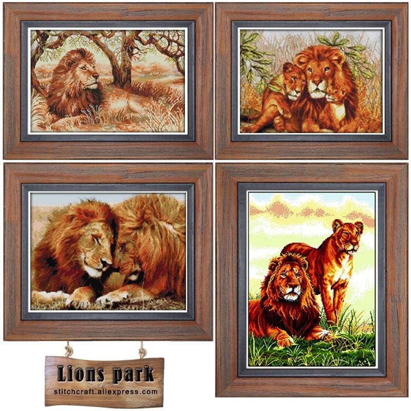 Lions couple Impreso Lienzo DMC Kits de punto de cruz contado - Artes, artesanía y costura