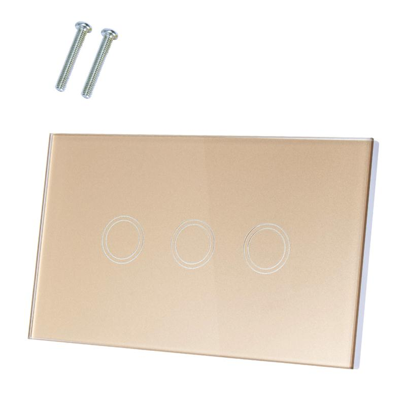 Home Sensor Smart Touch Switch AC 110-240V 1 Way 3 Gang Glass Panel Wall Light Touch Switch US Standard Switches Accessories eruiklink us standard smart wi fi switch button glass panel 1 gang touch light switch panel wifi alexa echo wall switch 110 240v