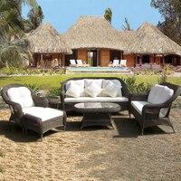 6 pcs хорошее качество Сад ЧП мебель из ротанга патио алюминиевая рама набор мебели для отдыха диван для наружного морской транспорт