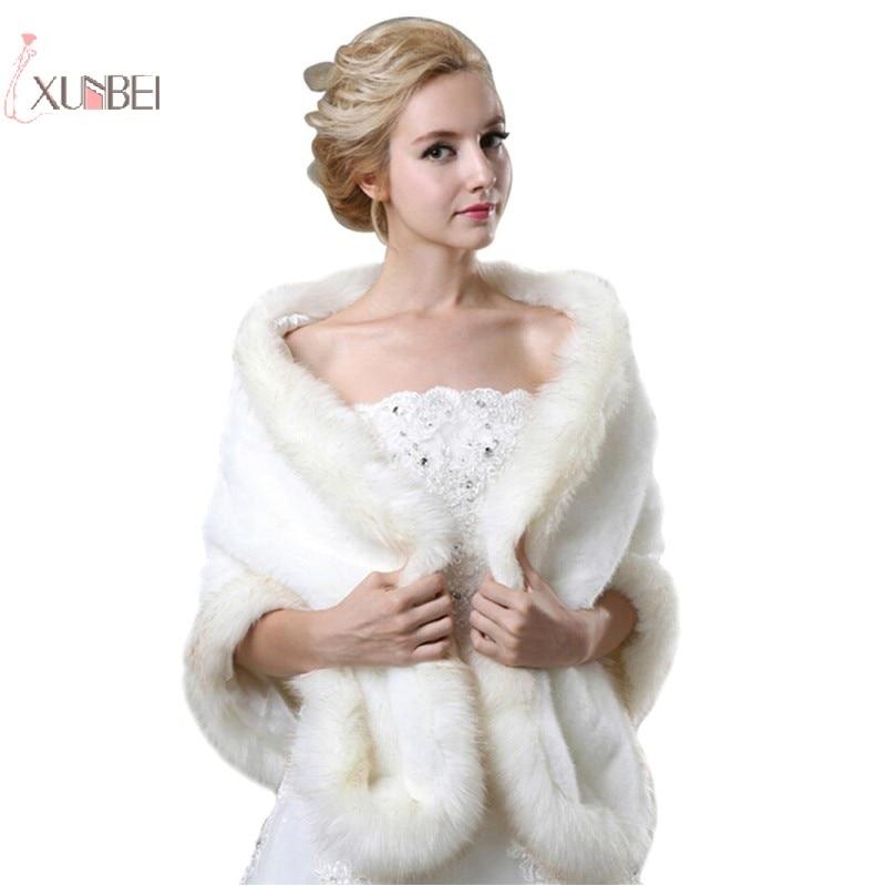 728f8d686 Nuevo abrigo blanco de piel sintética nupcial boda capa chal Chaqueta corta  capa Bolero estola ...