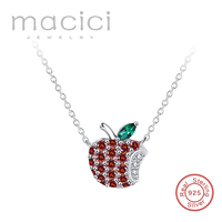 925 Silver Necklace Red Cubic Zirconia Apple Shaped Sterling Silver Jewelry For Women Fashion Ladies Free