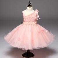 Girl new fashion dress Children's sleeveless lace dress Girl pearl decoration dress Children sling strap bow dress