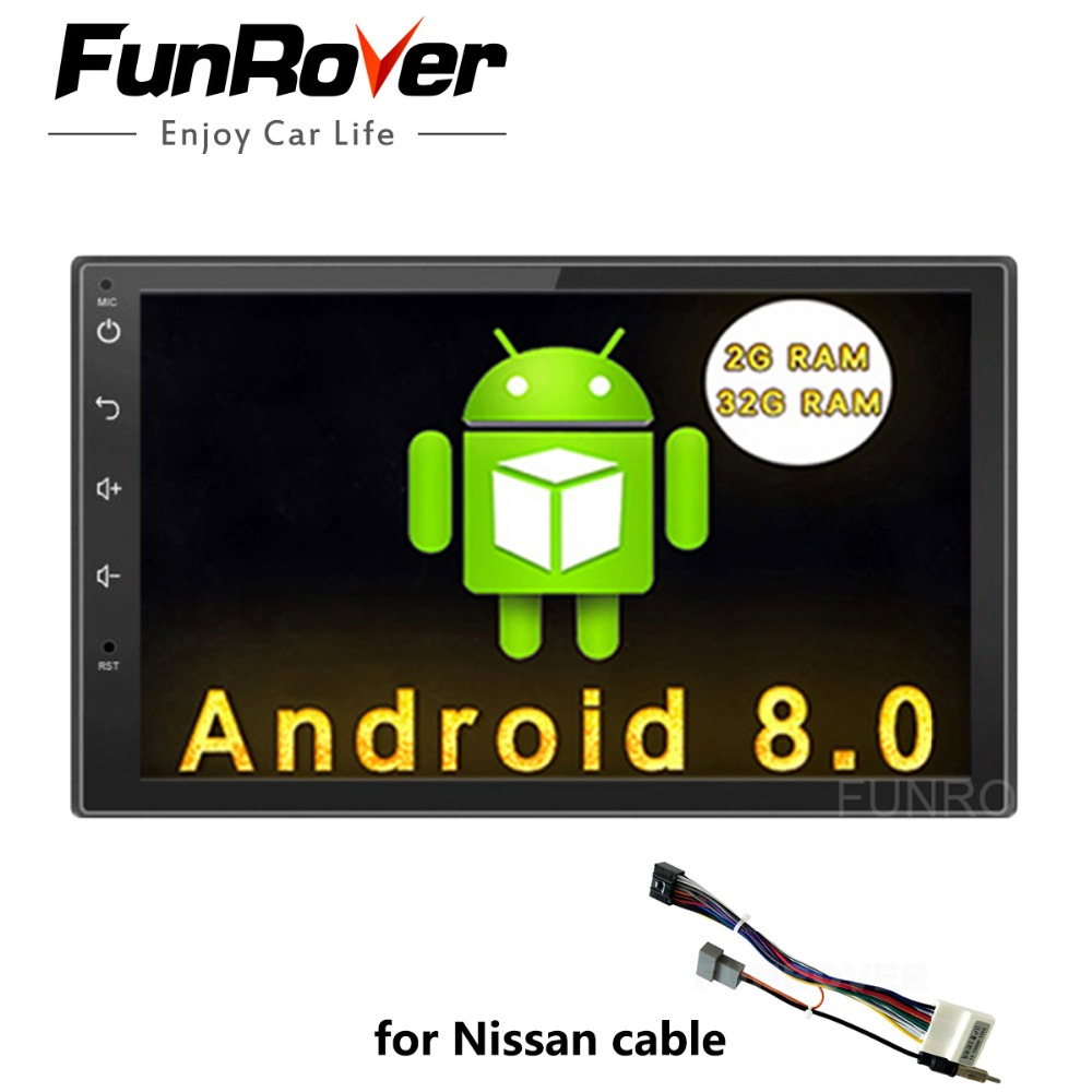 Funrover 2G+32G 7 2 din Android 8.0 Car DVD Radio Multimedia Player 1024*600 Universal GPS For Nissan vesa tiida glonass wifi funrover 9 2 din android 8 0 car radio multimedia dvd player gps for great wall haval h3 h5 2010 2013 glonass wifi fm quad core