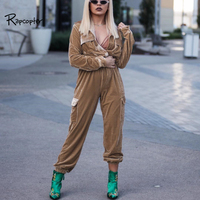 Rapcopter Womens Body Cargo Pants High Street Velour Female Jumpsuits Soild Regular Autumn Winter Casual Full Length Bodysuits