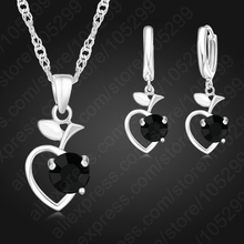 Free Shipping Black Color Heart Pendant CZ  Rhinestone Jewelry Set For Women Engagement Wedding Free Shipping