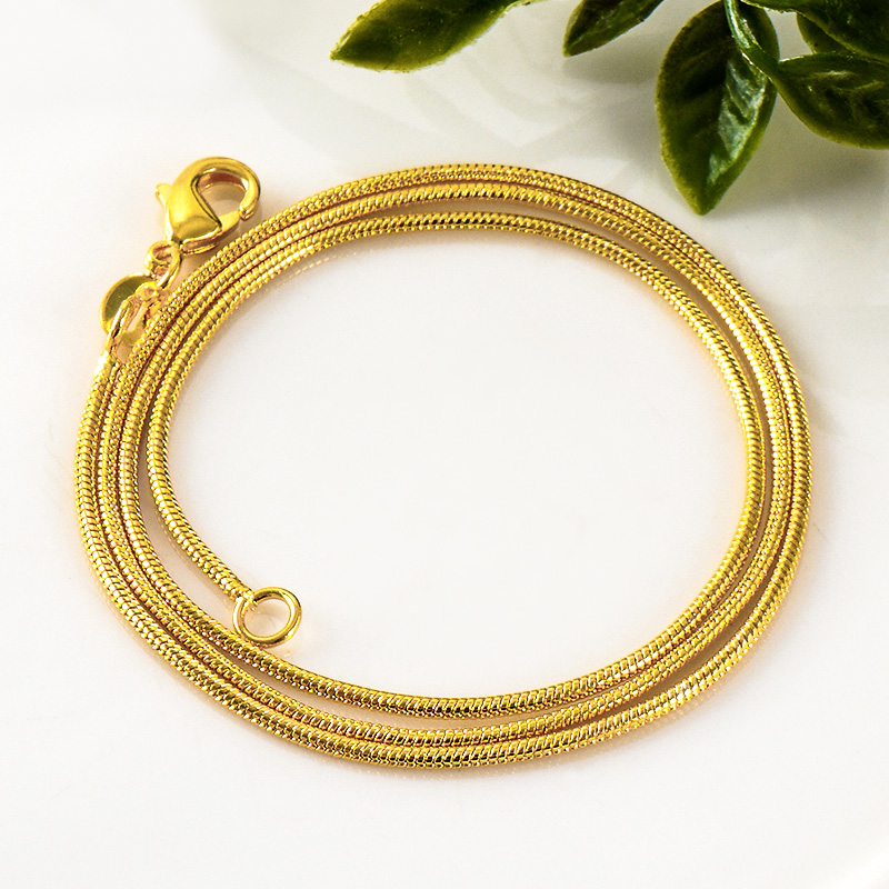 SHUANGR Fashion 20 inch Gold color Chain Necklace Unisex Women Men Chain Jewelry Charms For DIY Pendant Necklace collier