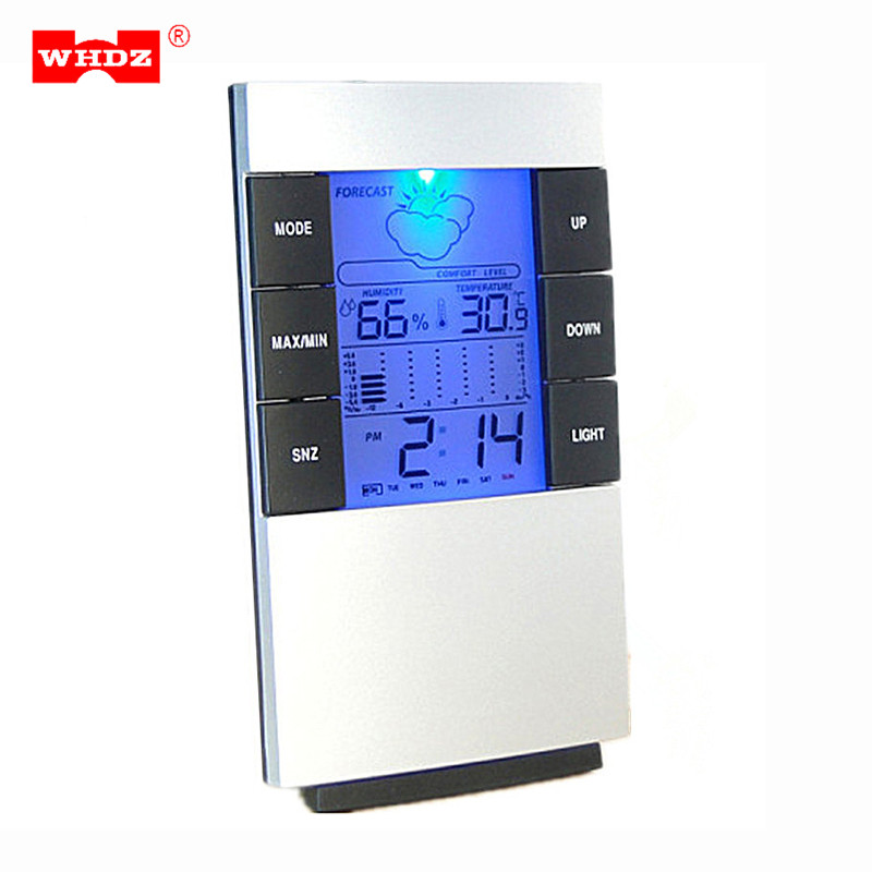 WHDZ LCD Digital Hygrometer Thermometer Temperature Humidity Meter Time Clock Weather Station Indoor Tester With Backlight 1pcs high accuracy lcd digital thermometer hygrometer electronic temperature humidity meter clock weather station indoor