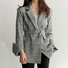 England Style Plaid Suit Coat 2020 Autumn Elegant Women Lace-up Blazer