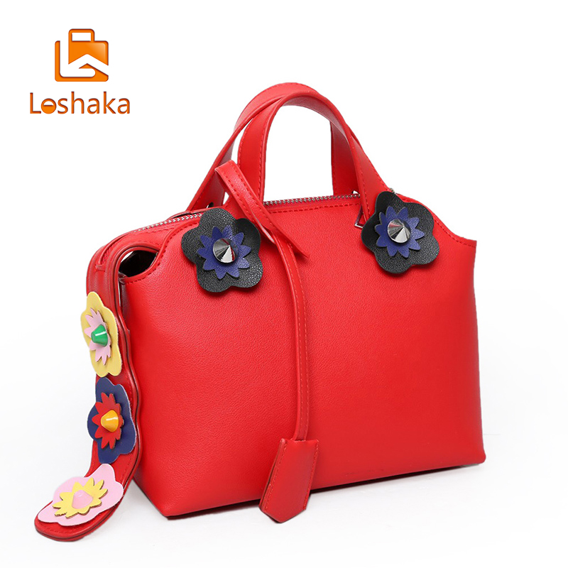 Loshaka Women Solid Shoulder Bags Leather High Quality Messenger Bag Boston Flowers Handbag Cross Body Bags Tote Purse For Lady