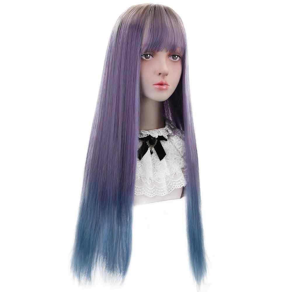 """Pelucas de Lolita sintéticas de 28 """"con flequillo violeta azul Ombre pelucas largas rectas Lolita disfraces de Halloween fiesta Cosplay pelucas para las mujeres"""