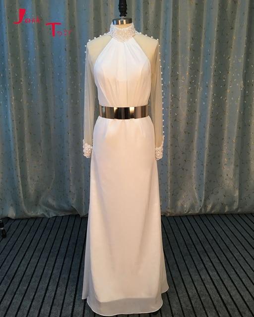Jark Tozr Custom Made Long Sleeve Chiffon Elegant Bridal Gowns Gelinlik  Gold Metal Sashes Beading Pearls Sheath Wedding Dresses 56f5fcda9594