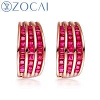 ZOCAI Genuine Ruby Gemstone 3 0 CT Certified Ruby Hoop Earrings 18K Rose Gold AU750 H00281