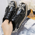 Genuin Leather Women Casual Shoes Hot Style Spring 2017 Platform Women Flats Comfortable Joker Five-Pointed Star Diamond Buckle