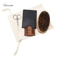 Dscosmetic 3Pcs Men's Beard Brush Kit Set Boar Bristle Shaving Brush wood Beard Comb Mustache Scissor Male Facial Beard tool