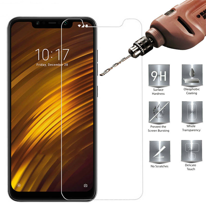 2PCS 9H Tempered Glass For Xiaomi Pocophone F1 Ultra-thin Screen Protector For Xiomi Pocophone F1 Film Little F1 Poco F 1 Glass