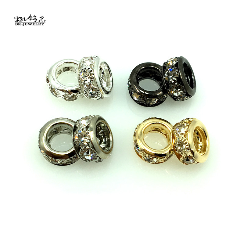 DHL free 1000pcs Gold Silver Round Beads Crystal Rhinestones Bead Big hole Beads Spacer Murano Czech