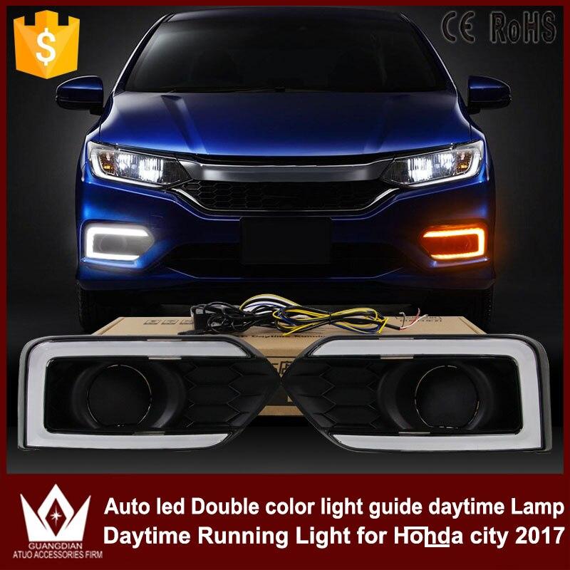 GuangDian 1 комплект автомобиль аксессуары светодиодов световод DRL дневные ходовые огни белый+желтый для Honda города 2017+ Противотуманные лампы белого DRL