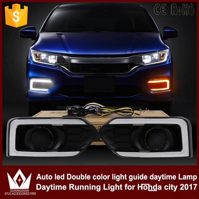 GuangDian 1 Set Car Accessories LED Light Guide DRL Daytime Running Lights  White+Yellow For