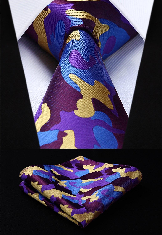 Woven Men Purple Yellow Tie Plaid Necktie Handkerchief Set#TG805T8S Party Wedding Classic Fashion Pocket Square Tie