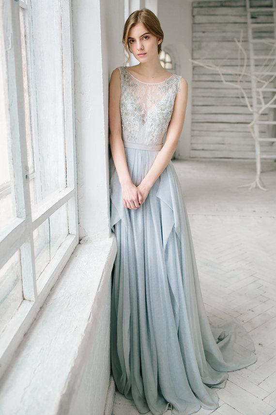 Cash On Delivery Light Blue Lace Beach Wedding Dress 2016 Chiffon Beaded Vintage Boho Sweep Train Vestido De Novia In Dresses From