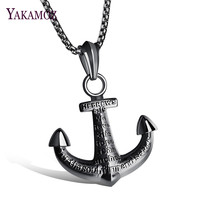 YAKAMOZ Casual Vintage Men S Anchor Necklace Charms Punk Stainless Steel Pendant Necklace For Men Jewelry