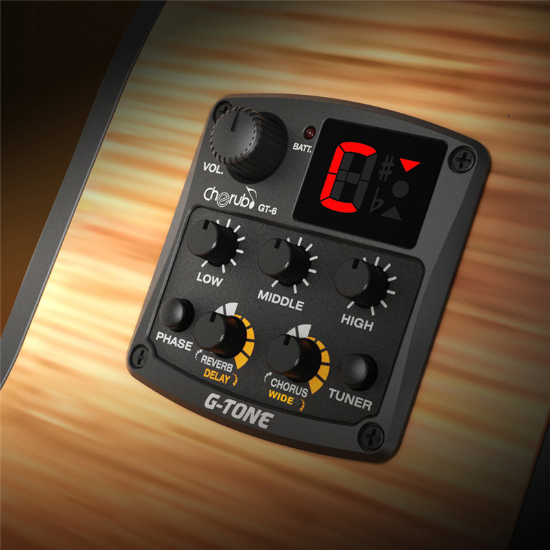 Cherub GT-6 Acoustic Guitar Preamp 3 Band EQ Equalizer With Tuner And Reverb/ Delay/ Chorus/ Wide Effects joyo eq 307 folk guitarra 5 band eq acoutsic guitar equalizer high sensibility presence adjustable with phase effect and tuner