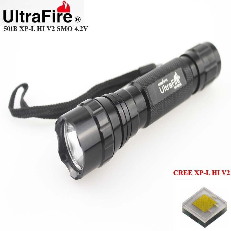 U-F 501B CREE XP-L HI V2 1600lm Cool White Light 4.2V 3-Mode SMO LED Flashlight (1 x 18650)