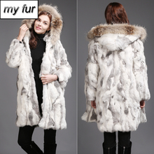 New Fashion Women Real Rabbit Fur Coat Winter Warm Soft Rabbit Fur Jacket With Raccoon Fur Collar Hooded Rabbit Fur Outerwear cheap Real Fur Raccoon Dog Fur Covered Button Double-faced Fur REGULAR Slim Long Full With Raccoon Dog Fur Collar Thick (Winter)