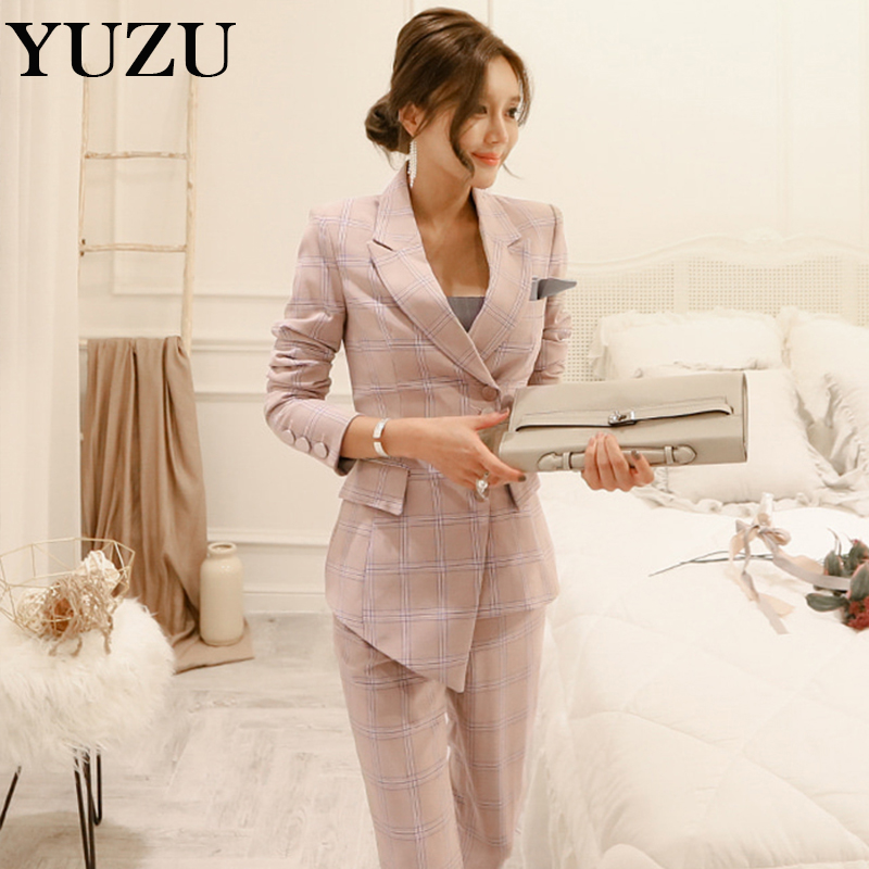formal suits for women pink plaid pants suit Double Breasted Blazer ladies office wear business work clothing polyester outfit